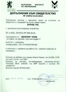 Допълнение към Свидетелство 144FS/23.03.2012 за регистриране и отчитане на продажби в търговски обекти чрез фискални устройства